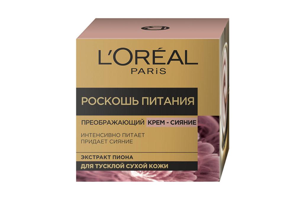 Дневной преображающий крем-сияние для лица «Роскошь Питания»  L'Oréal Paris за счет натуральных розовых пигментов мгновенно улучшает цвет лица, делая кожу свежей и сияющей. 438 р.