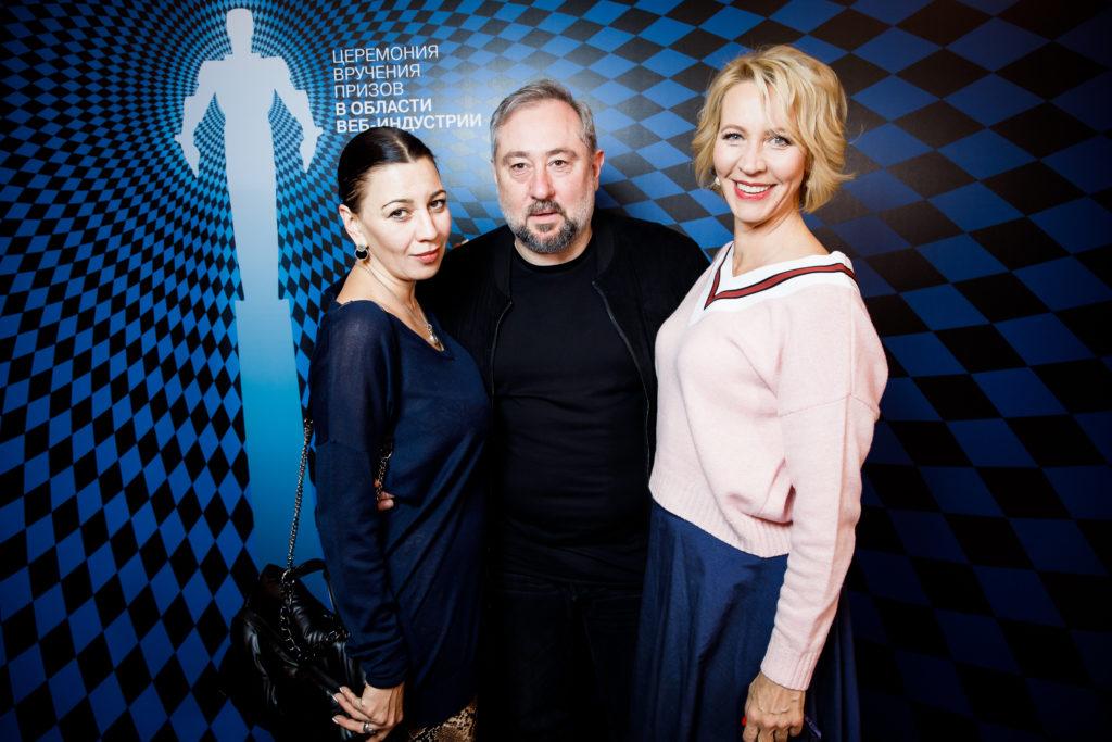 Полина Максимова, Катерина Шпица и Павел Табаков на второй церемонии вручения веб-премии The Digital Reporter