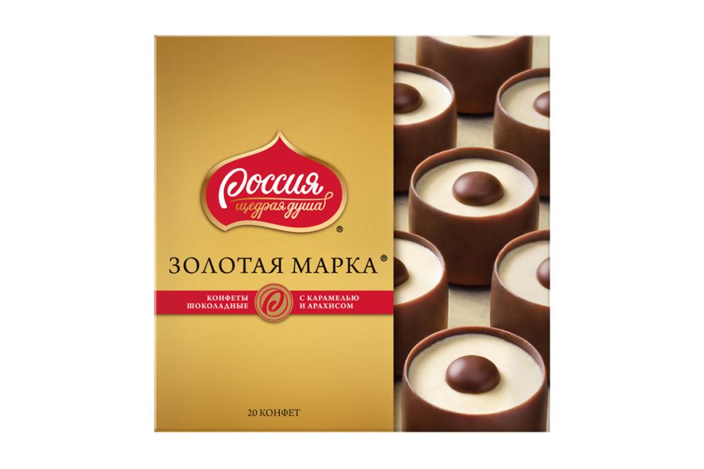 Конфеты шоколадные с карамелью и арахисом Золотая марка «Россия» — щедрая душа!, 349 р.