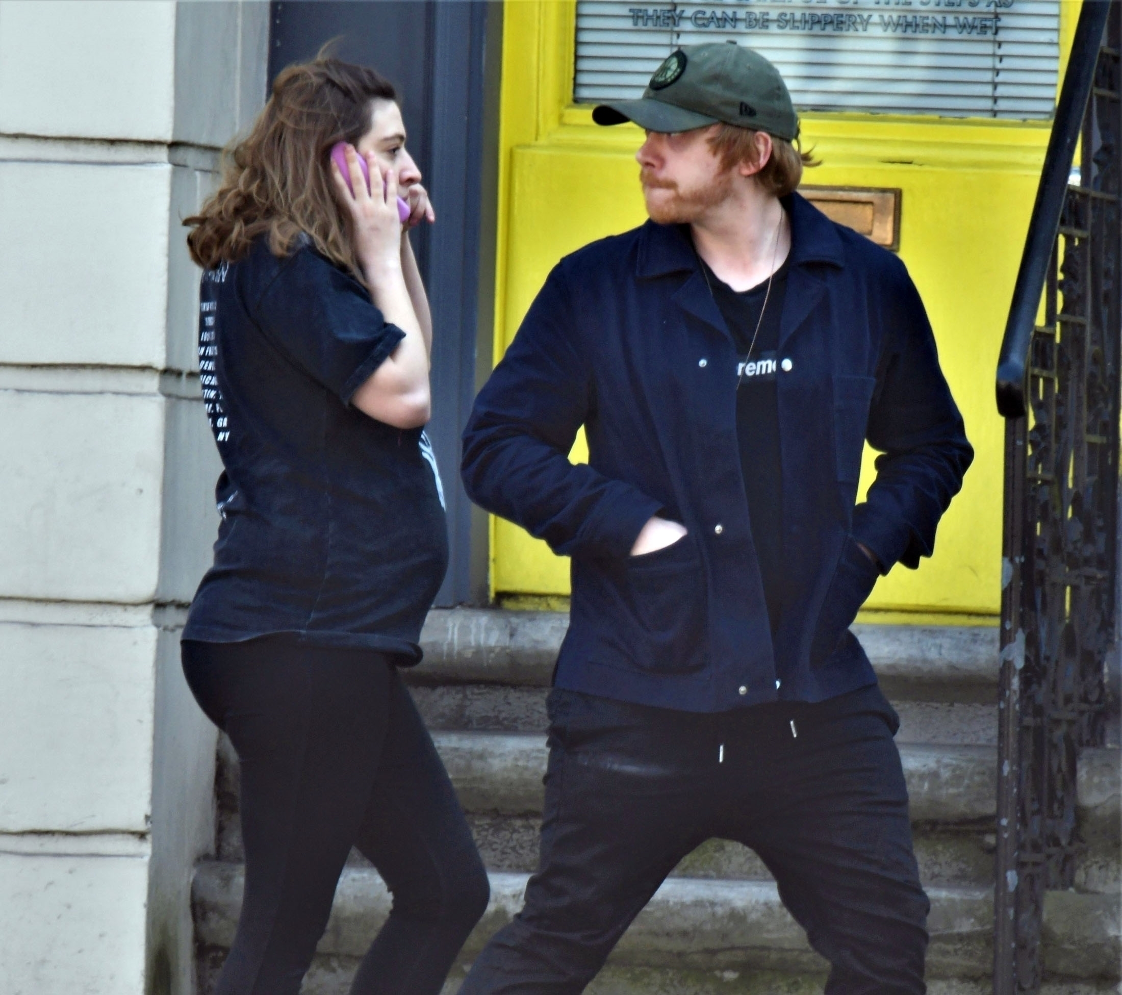 *EXCLUSIVE* Harry Potter actor Rupert Grint and partner Georgia Groome pictured out stocking up on some supplies during the Coronavirus lockdown in London.