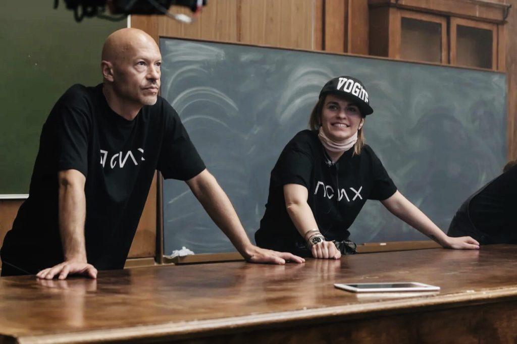 Федор Бондарчук и Оксана Кравчук на съемках сериала «Псих»