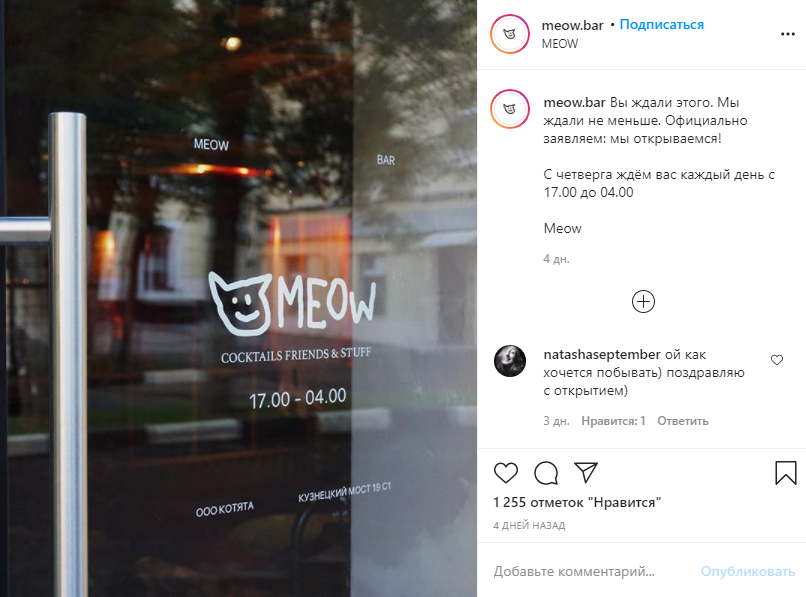 Фото: Instagram @meow.bar