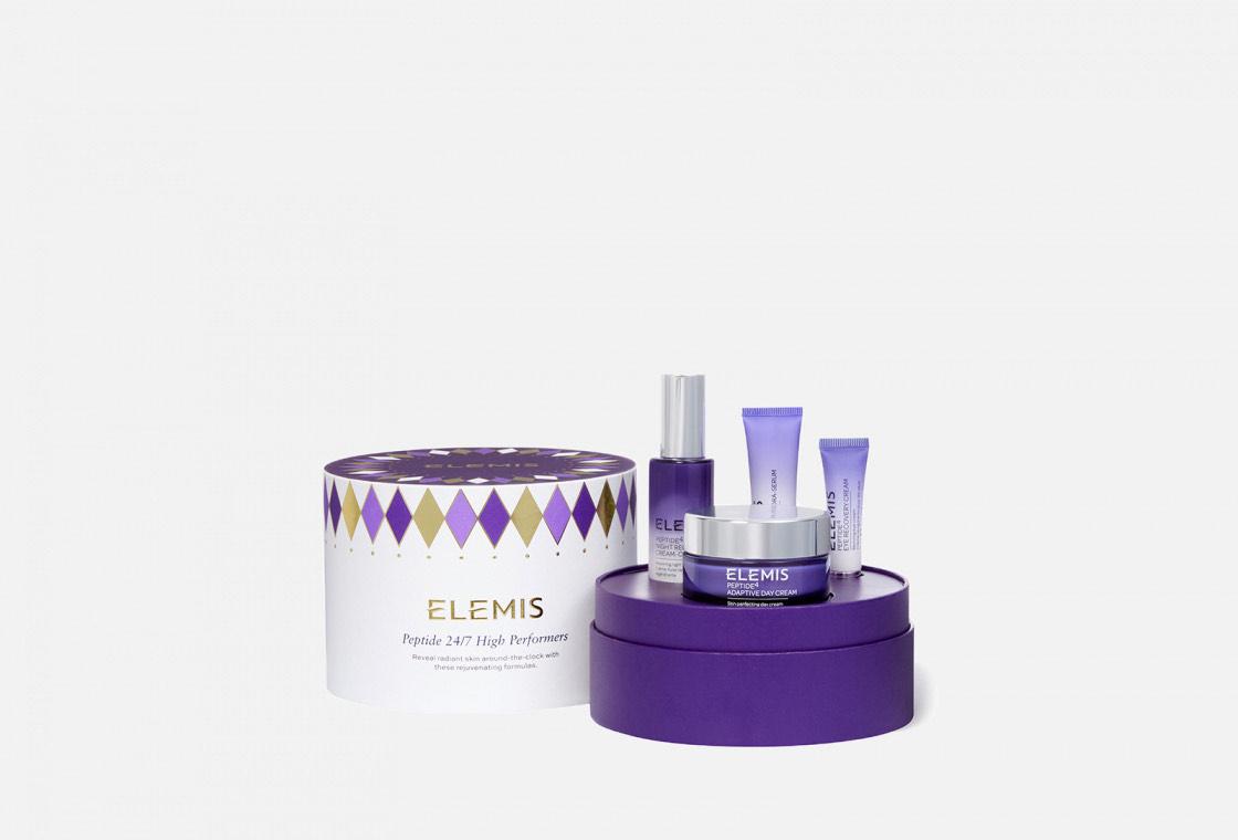 Набор для ухода за возрастной кожей Elemis Peptide 24/7 High Performers с дневным кремом для безупречной кожи, кремом для век, ночной эмульсией для лица и антиоксидантной увлажняющей сывороткой.
