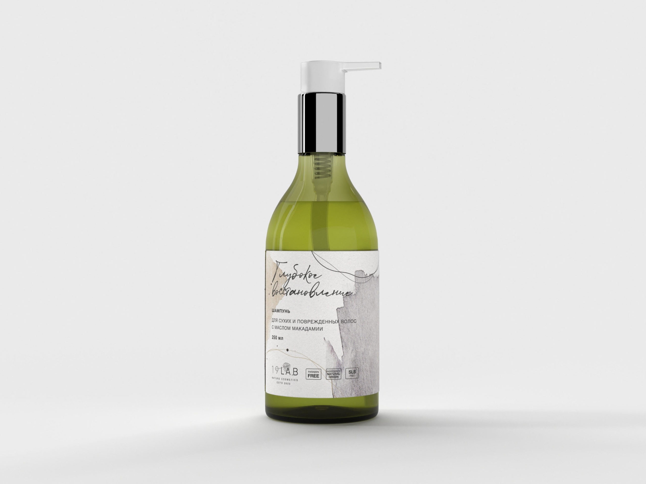 Шампунь для сухих и поврежденных волос с маслом макадамии 19LAB