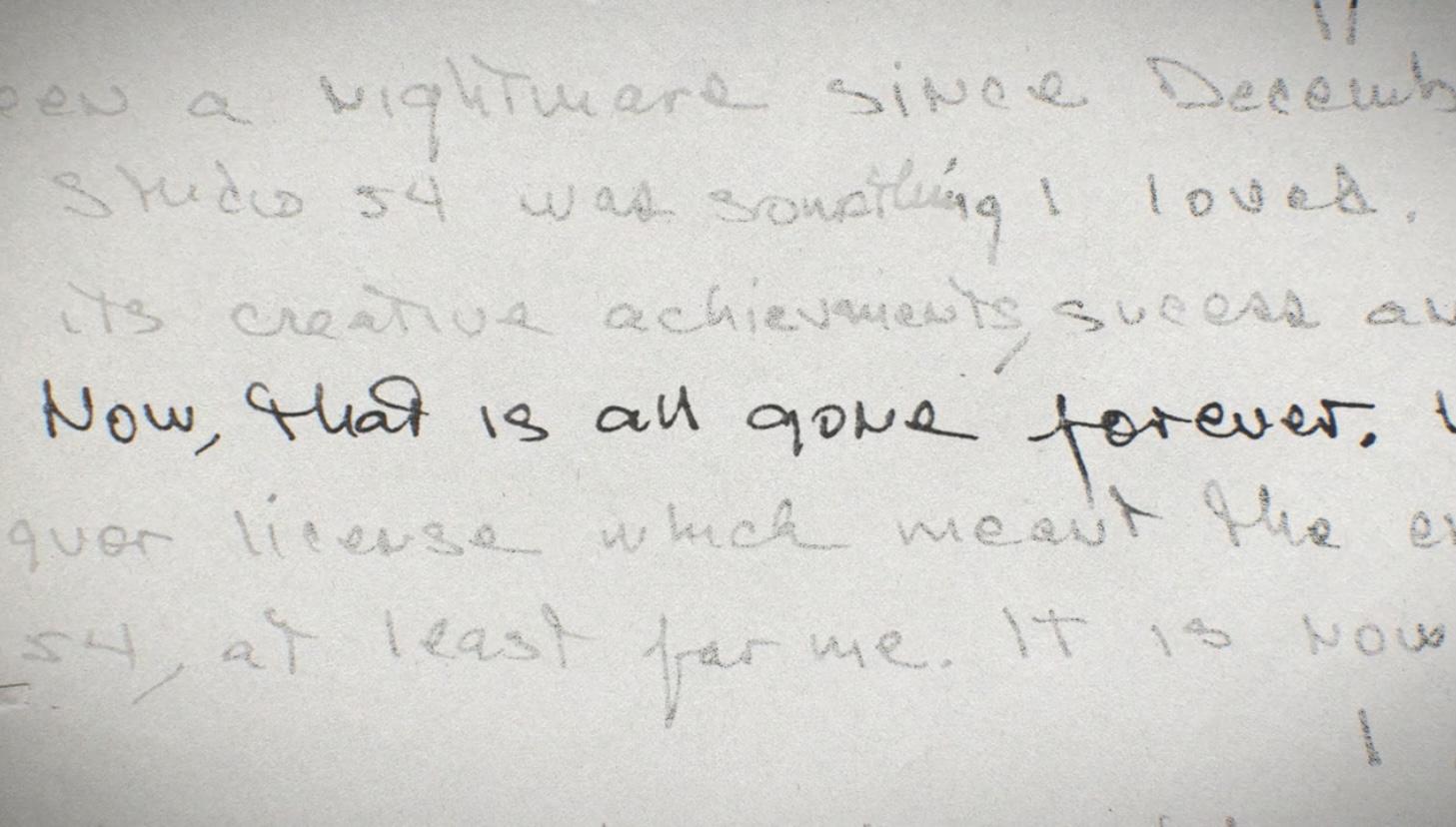 Архивные записки Яна Шрайгера из тюрьмы (кадр из фильма Sudio 54)