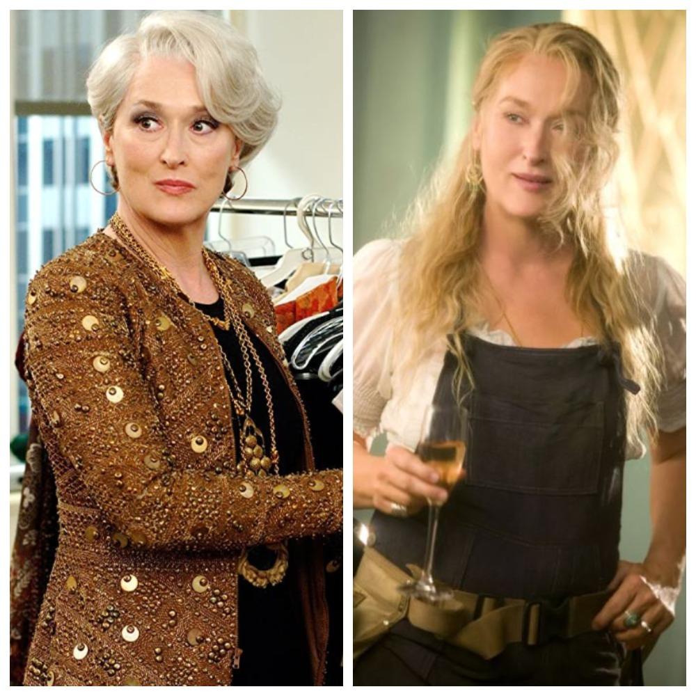 Мэрил Стрип в «Дьявол носит Prada» и в «Mamma Mia»